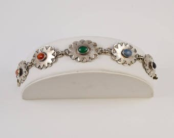 Sterling Silver 925 Multi-colored Stones Mexican Bracelet(00981)