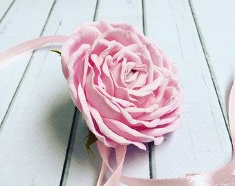 Pink bracelet Bridal bracelet  Pink rose Charm Bracelet  Wedding flower Bridal flower Pink flower Wedding accessories Flower bracelet