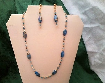 Oval Lt. blue shell necklace & earring set