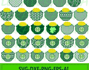60 % OFF, Pot of Gold svg, Monogram Pot of Gold svg, dxf, ai, eps, png, St Patricks day, Digital Cutting Files,St Patricks Day SVG cut files