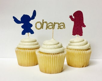 Lilo & Stitch / Cupcake Toppers / Disney Cupcake Toppers / Custom Cupcake Toppers / Glitter Party Decor / Disney Themed Party Supplies