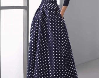 Elegant Long Skirt Polka Dot Pockets
