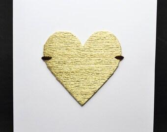 Golden Heart on White Card