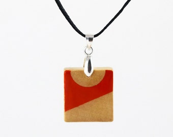Painted Wooden Necklace - Upcycled Scrabble Tile