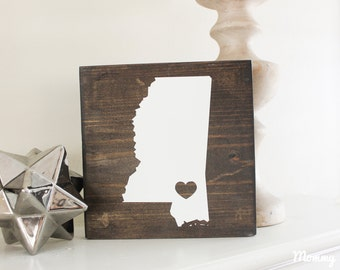 State Heart Wood Sign| Custom Sign | State Decor | Farmhouse Decor| Rustic Wall Decor| Housewarming Gift| Moving Gift|