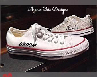 Groom converse, Wedding converse, Custom Converse, Personalized Converse, Husband Low Top Converse, Men's Wedding Shoes Converse Custom