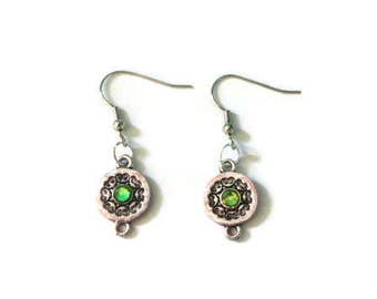 Silver Earrings with Green Gem in Middle