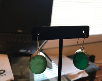 LARGE NATURAL EMERALD earrings,gorgious! from brazil mines,925 silver,so nice!
