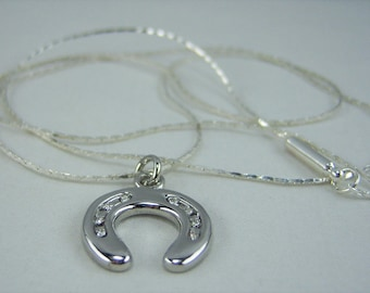 N016, Horseshoe with Crystals Charm Necklace