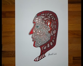 Original Abstract Pen and Ink Drawing on Paper // The Mind of One // House Warming Gift // Ready to Frame Art