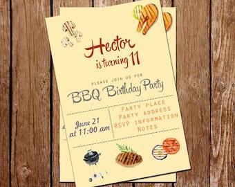 BBQ Birthday Party Invitation, BBQ Invitation, Barbecue Invitation, Barbecue Birthday Party, Make for Order, Printable Invitation, PDF, Jpg