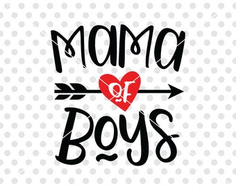 Mama Of Boys SVG DXF Cutting File, Mother Svg Dxf Cutting File, Mom of Boys Svg Dxf Cutting File, Motherhood Svg Dxf Cuttable, Mom Clipart
