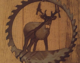 Gift for hunter, Saw blade Art, Wall decor, Antler Hanger, Wildlife, Deer Hunting, Deer Decor, Gifts for Him, Saw Blade, Metal Wall Hanging