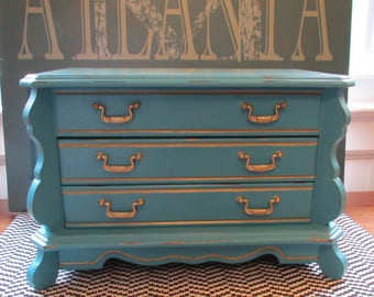 Vintage Jewlery Box Chest Turquoise Teal Gold Shabby Cottage Beach Glam Chic Floral Distressed