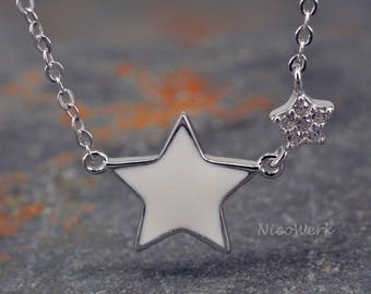 Silver necklace with pendant star necklace ladies 925 Silver Chain jewelry SKE174