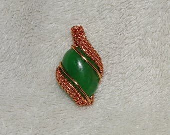 Copper pendant with green agate. Agate pendant, elegant pendant, gemstone pendant