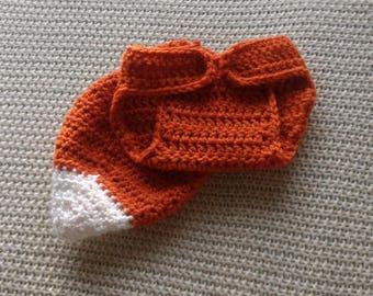 Baby Fox Costume, Fox Tail, Photo Prop, Newborn Fox Costume, Newborn Photo Prop, Fox Diaper Cover, Diaper Cover, Baby Shower Gift, Crochet