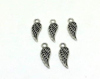 10 Silver wing charms - silver charms - alloy charms