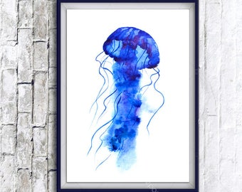 1+1=3! Print Watercolor jellyfish painting, watercolor jellyfish painting, jellyfish, jellyfish painting, animal print, animal painting