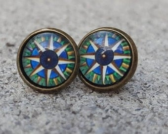 Brass Compass Cabochon Stud Earrings