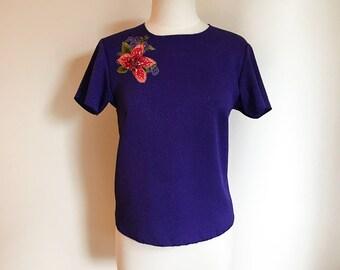Vintage Purple Top / Floral Spring Blouse / Royal Purple Top / Medium Blouse