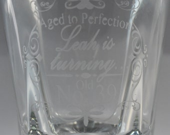 Etched Personalized Aged to Perfection Burbon Glass