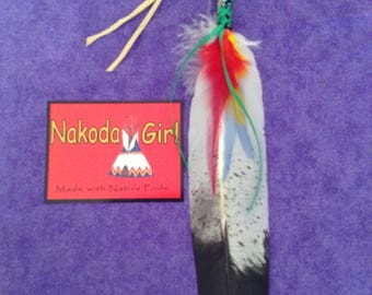 Native American *Nakoda Made* Replica GOLDEN EAGLE Fancy SMUDGE Feather