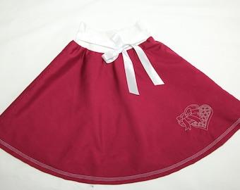 Girls circle skirt, toddler skirt, summer skirt, girls' clothing, baby skirt, cotton skirt, elastic waist skirt, embroidered skirt