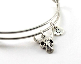 BUFFALO SKULL bangle, silver tone buffalo skull bracelet, spirited skull charm, initial bracelet, adjustable bangle, personalized jewelry