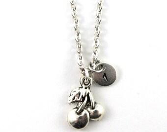 CHERRY charm necklace, rockabilly jewel, personalized charm necklace, initial necklace, personalized jewel, charm neckalce, hand stamped