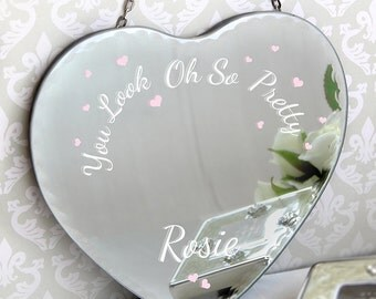 Oh So Pretty... Personalised Heart Hanging Mirror - Birthday For Her Gift