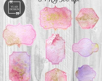 8 Watercolor vintage frames clipart Watercolor digital frames Wedding frames Watercolor elements Cute watercolor graphics Pink frames Purple