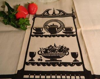 Vintage Linen Tea Towel, Collectible Tea Towel, Shepard's Department Store, Original Price Tag, Black, 50s, 60s, Retro, Providence, RI, NOS