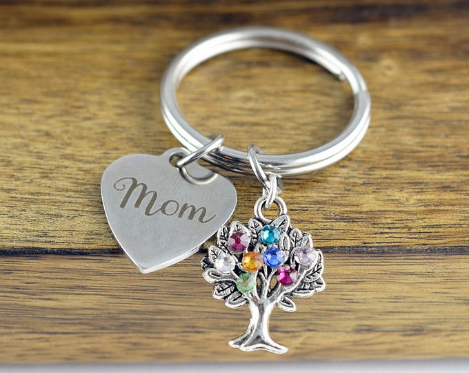 Personalized Mom Gifts - Gifts for Mom -Mothers Day Gift - Birthstone Keychain - Grandma's Keychain - Mothers Keychain