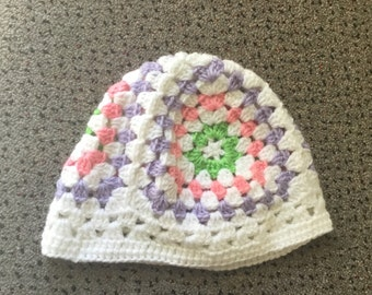 White, purple, pink and green kids beanie