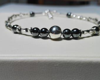 Silver bracelet, beaded bracelet, hematite  bracelet, handmade bracelet