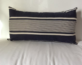 "Vintage French Ticking Textile Pillow Cover 24"" x 14"""