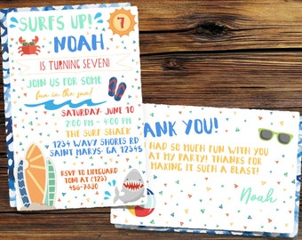 Surfer Birthday Invitation