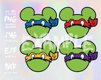 Mickey heads Ninja Turtle ,clipart,SVG,PNG 300dpi ,ESP vector