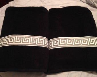 Black Cotton  Bath Towel with Greek Key Trim