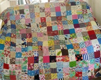 Family/kids Fun hand made  Patchwork Quilt/sofs cover/ throw/ blanket