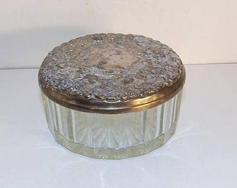 Silver Plated Vanity / Jewelry / Powder Box with Mirror