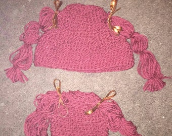 Child's pigtail hat