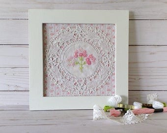 Pink floral wall art, pink flowers, shabby cottage chic wall art,  pink embroidery, framed embroidery, cluny lace doily art, girl decor
