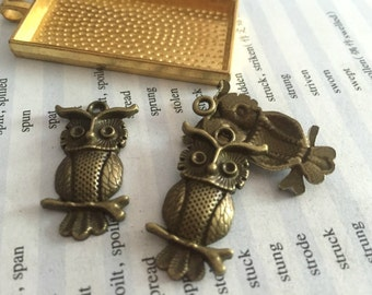 20Pieces /Lot Antique Bronze Plated 31mmx17mm owl Charms