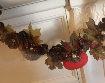 Sweater Pumpkin and Pinecone Garland