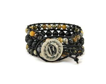 Boho Gypsy * Agate & Onyx. 3 strand Wrap Bracelet. Boho Style. Bohemian Jewelry. Semiprecious stones. Gift for her. Cuff Bracelet.