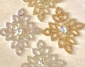 Crystal Diamante Rhinestone Applique for Bridal and Wedding Dress Embellishments Applique/ Swarovski Shine