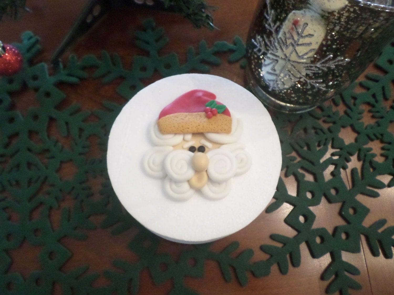 Edible Cake Decorations Xmas : Edible Fondant Christmas Santa Edible Fondant Cake Topper