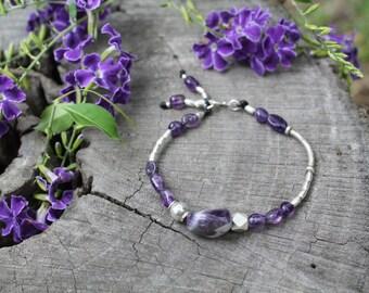 AMETHYST MEDITATION BRACELET - Karen Hill Tribe Silver - Amethyst Beads